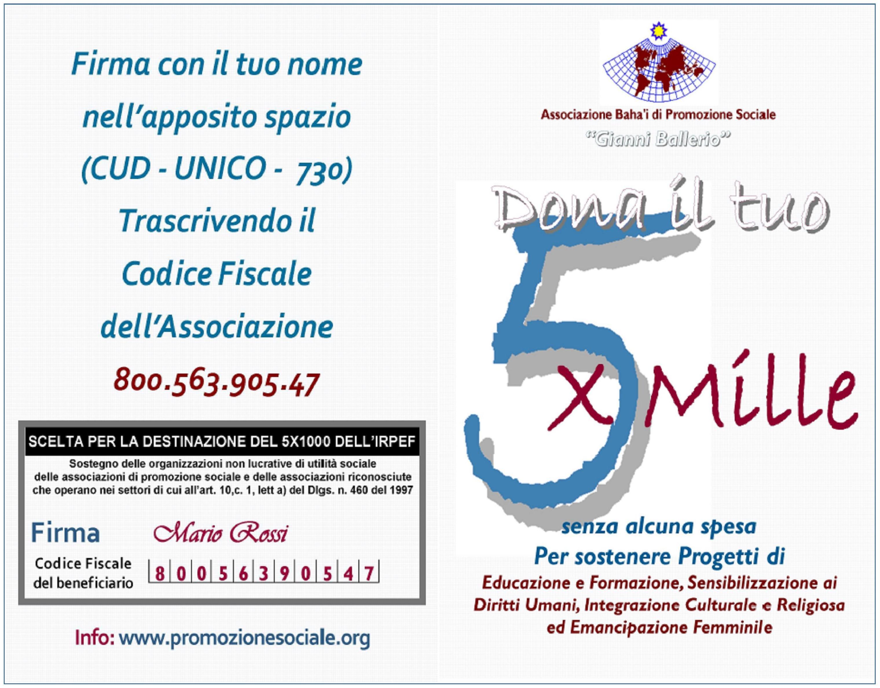 Dona 5x1000 APS Gianni Ballerio